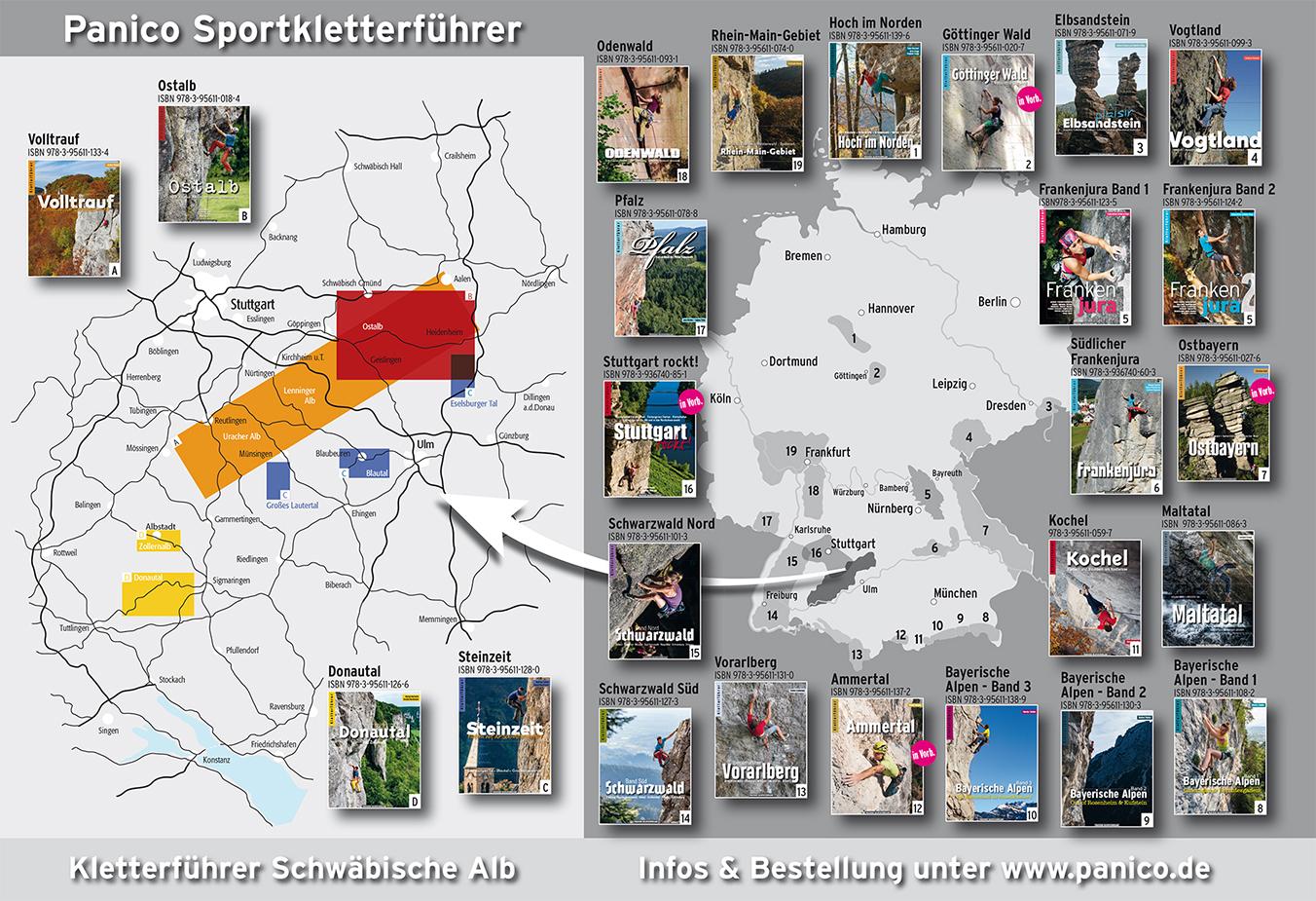 Übersicht Kletterführer Deutschland