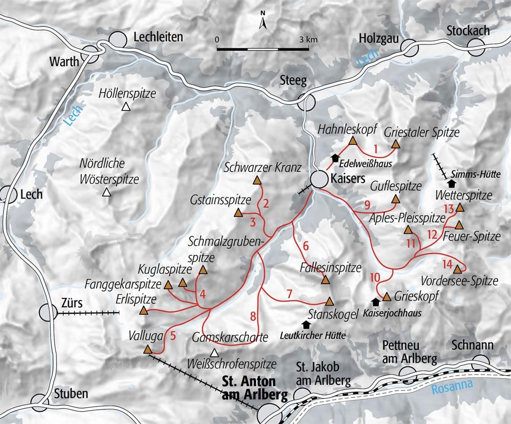 Skitouren Skitopo Lechtaler Alpen